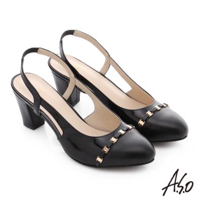 A.S.O 逸麗知性 真皮撞色金屬飾條鬆緊帶高跟鞋 黑色