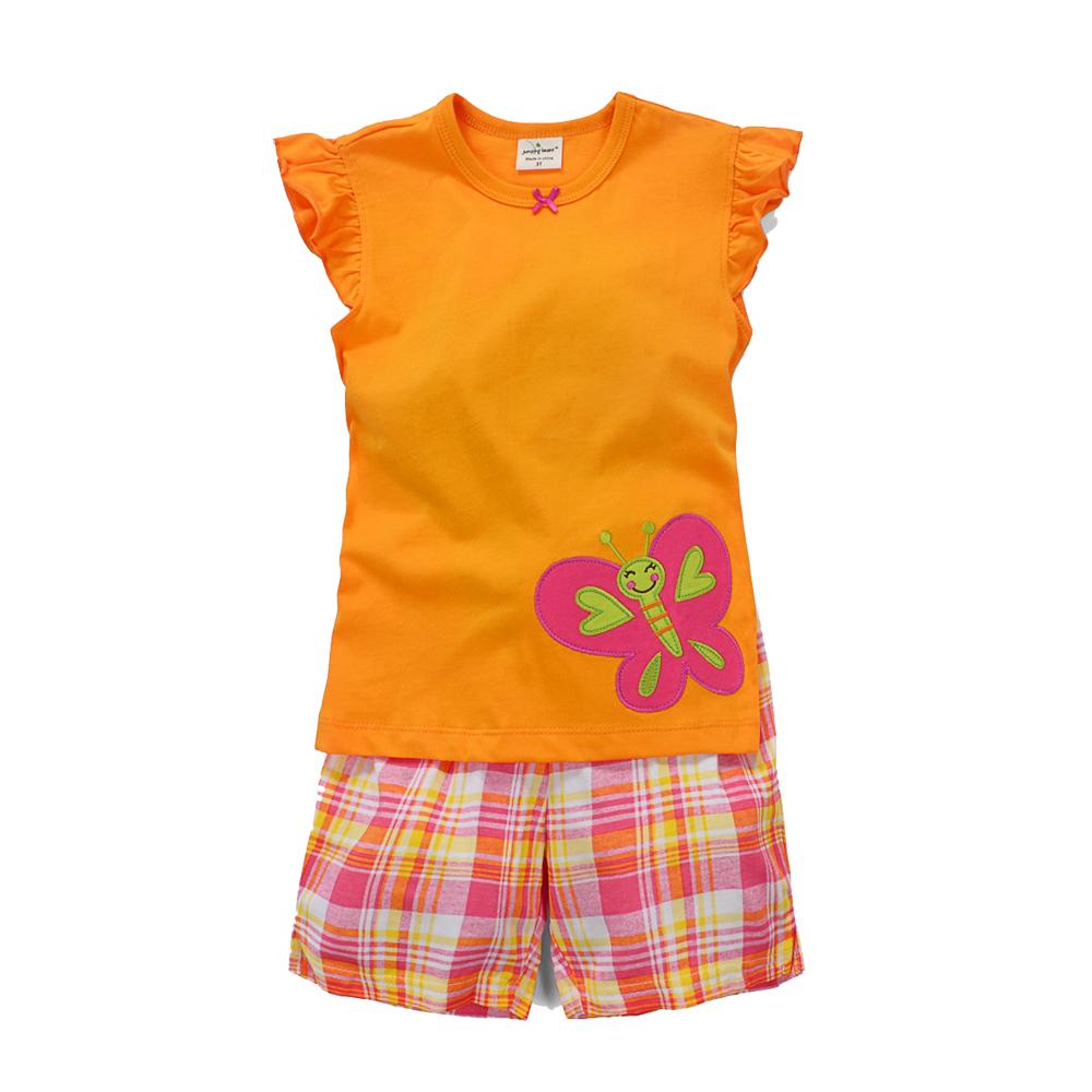 歐美風格設計 小童中童女童短棉T居家外出褲裝組 翩翩蝴蝶 橘色