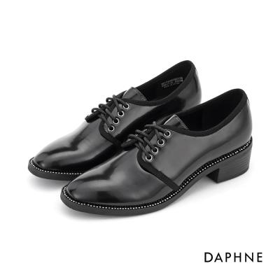達芙妮DAPHNE 休閒鞋-水鑽飾邊漆皮繫帶牛津鞋-黑