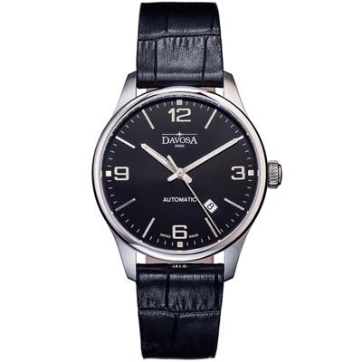 DAVOSA Gentleman 紳士系列經典腕錶-黑/44mm