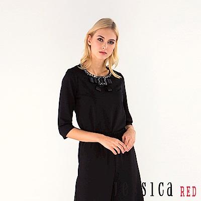 JESSICA RED - 玩味時尚鑽飾蝴蝶結造型上衣(黑)