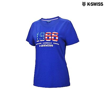 K-Swiss 1966 Logo Tee印花短袖T恤-女-藍