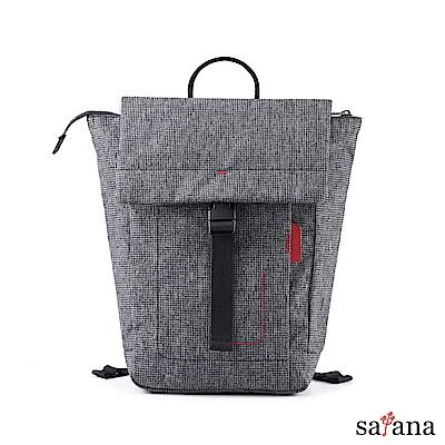 satana - Fresh 輕職人俐落率性後背包 - 黑白小千鳥