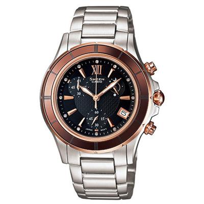 CASIO SHEEN系列 極光盛宴都會陶瓷晶鑽腕錶(玫瑰金)-35mm