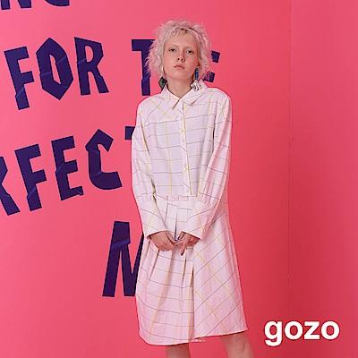gozo 不對襯拼接格紋線條長版襯衫洋裝(二色)