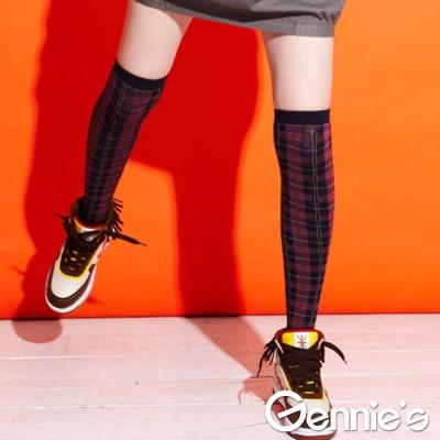 【Gennie's奇妮】時尚彈性厚棉膝上襪(粉格紋/深藍格紋)