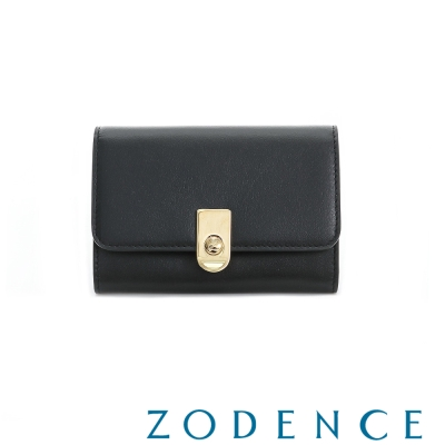 ZODENCE 西班牙牛皮系列LOGO金屬扣設計名片夾 黑