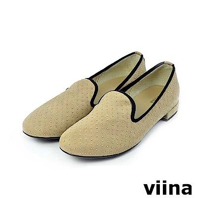 viina-休閒系列-點點滾邊絨面樂福鞋-杏色