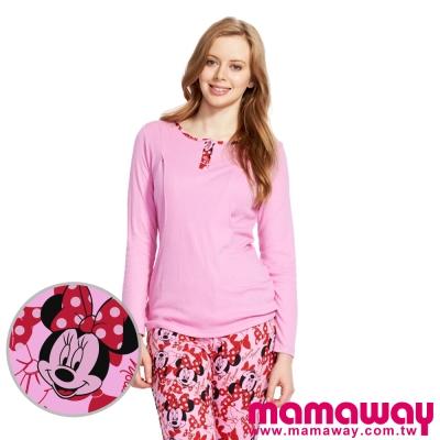Mamaway-蝴蝶結米妮孕哺居家服組-長袖-長褲