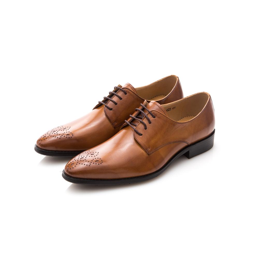 ALLEGREZZA真皮男鞋-時尚型男-藝紋雕花尖頭綁帶牛鞋皮鞋焦糖色