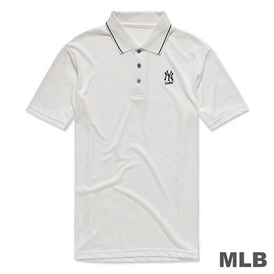 MLB-紐約洋基隊LOGO印花快排POLO衫-白 (男)