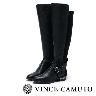 Vince Camuto 交叉飾扣伸縮帶拼接長靴-黑色