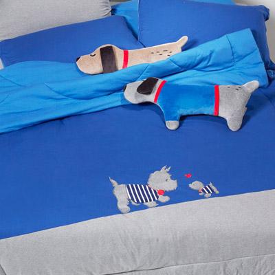 Yvonne Collection6x7呎狗狗雙人四季被-深藍