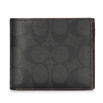 COACH 經典LOGO PVC皮革紅色滾邊多卡短夾(附可拆式證件夾)-黑灰/紅色