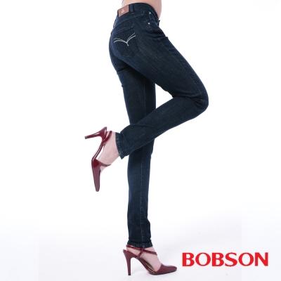 BOBSON   女款保暖膠原蛋白美肌小直筒褲-藍色