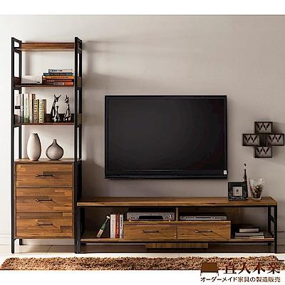 日本直人木業-STEEL積層木工業風1個3抽加181CM電視櫃(241x40x197cm)