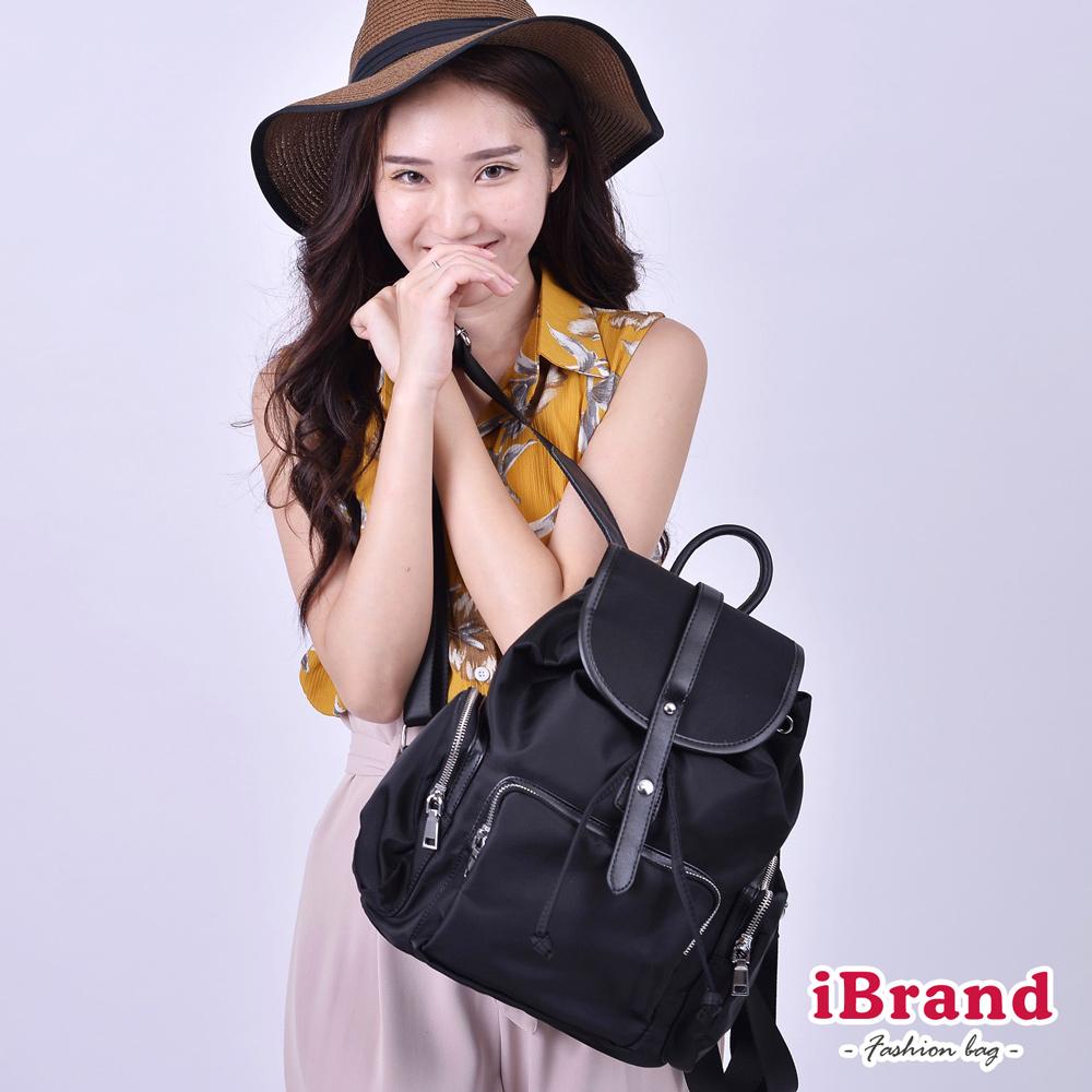iBrand 韓系時尚翻蓋真皮口袋尼龍後背包-黑