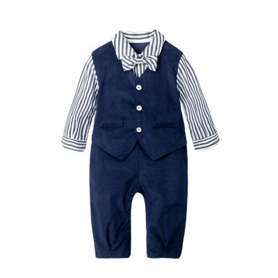 baby童衣 條紋紳士造型假三件長袖連身衣 70108