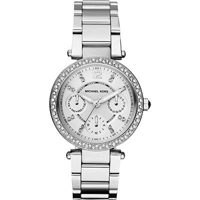 Michael Kors 美式奢華晶鑽三眼腕錶-銀/33mm