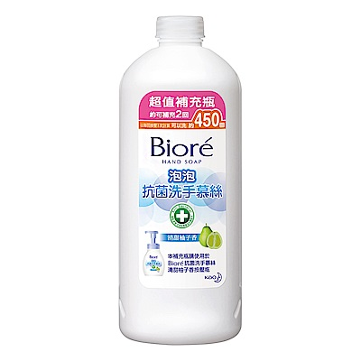 蜜妮 Biore 抗菌洗手慕絲 清甜柚子香 (補充瓶 450ml)