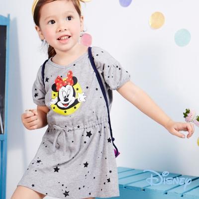 Disney 歡樂米妮圓點抽繩棉洋裝 灰色