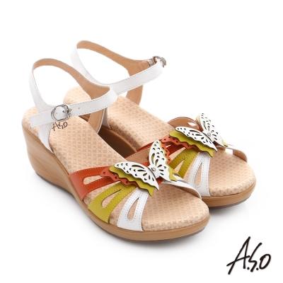 A.S.O 挺麗氣墊 真皮雙色蝴蝶環釦氣墊楔型涼拖鞋 芥末黃