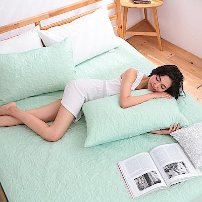 eyah宜雅 吸濕排汗大和防蹣抗菌雙效床包式保潔墊 雙人(素雅綠)