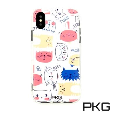 PKG Apple IPhone X 彩繪空壓氣囊保護殼浮雕彩繪-情境貓