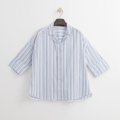 Hang Ten - 女裝 - 七分直條襯衫-藍色