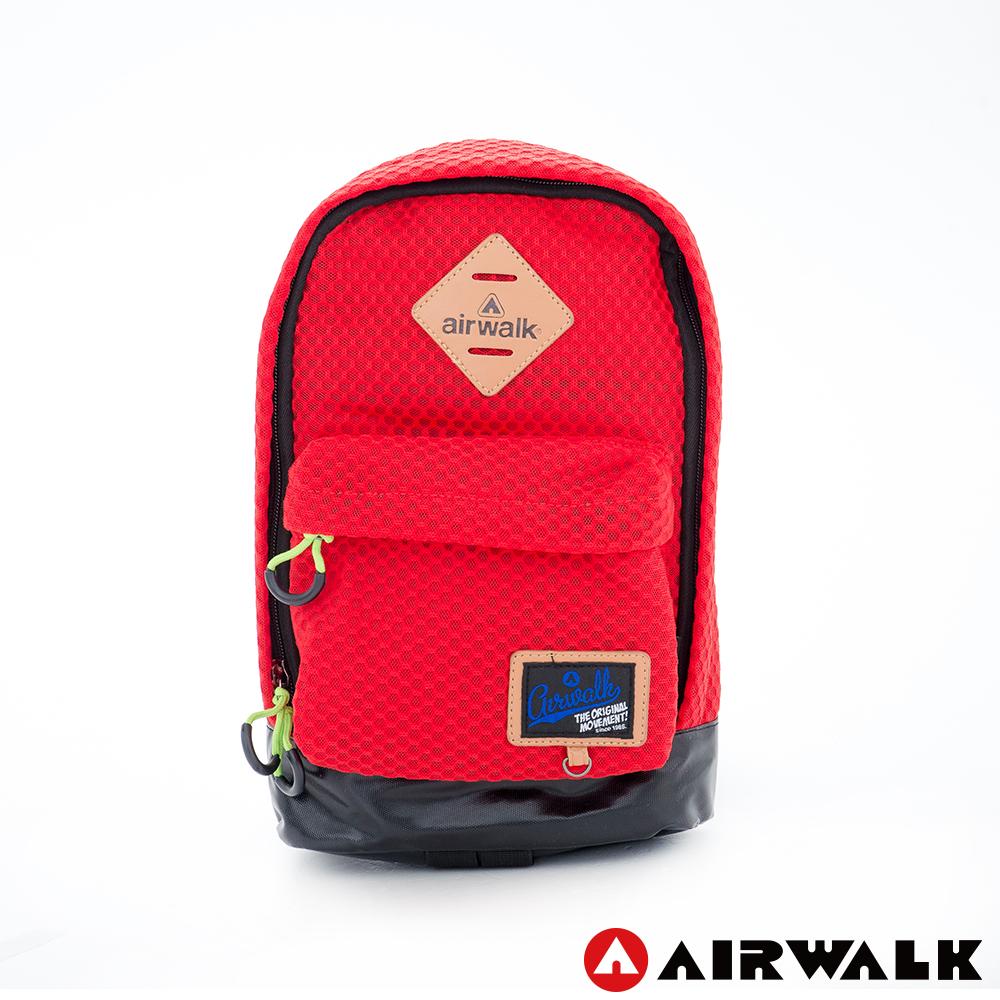 AIRWALK - 小豬斜肩包 極輕量網布  輕盈小旅行網布斜肩包 - 紅