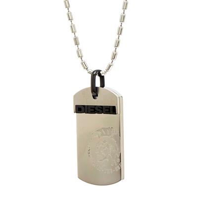 DIESEL 銀色街頭風朝款的軍牌項鍊