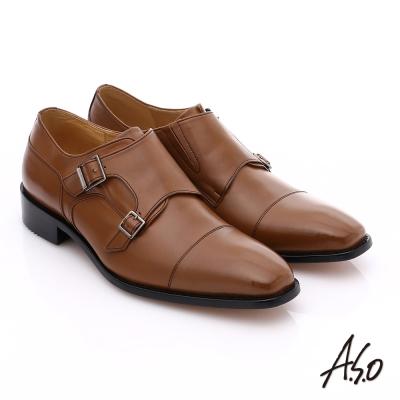 A.S.O 尊榮青紳 全牛皮雙排釦紳士鞋 茶色