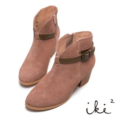 iki2法式優雅-麂皮簡約緞帶低跟短靴-粉
