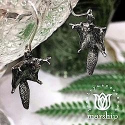 Marship 日本銀飾品牌 優雅滑行的飛鼠耳環 925純銀 古董銀款 針式耳環