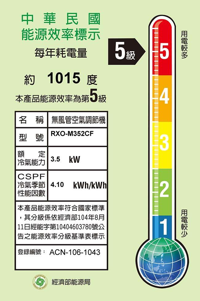 RENFOSS 良峰 《RXI-M352CF/RXO-M352CF 》6-7坪 定頻冷專一對一分離式冷氣