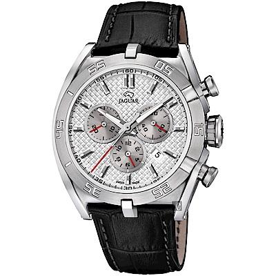 JAGUAR積架 EXECUTIVE 極速計時手錶-銀x黑色錶帶/45.8mm