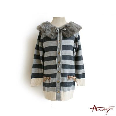 長版條紋雙口袋開襟外套*3270灰