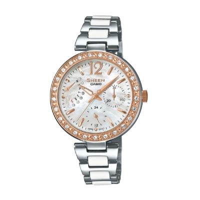 SHEEN淡雅氣質施華洛世奇水晶珍珠母貝腕錶(SHE-3042SG-7A)銀面X金邊32mm