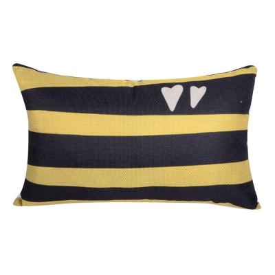 樂活玩趣 棉麻舒適長型抱枕.腰靠枕 (黑黃條紋)