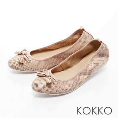 KOKKO-復古雅緻蝴蝶結真皮休閒平底鞋-杏膚