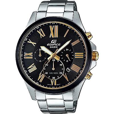 CASIO卡西歐 EDIFICE 羅馬計時手錶-黑x銀