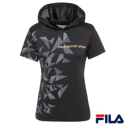 FILA 女連帽T恤-黑5TER-1465-BK