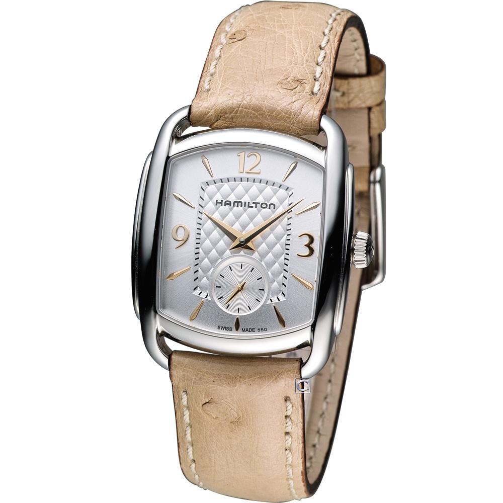 Hamilton Bagley 精粹時尚小秒針腕錶-銀白/30x36mm