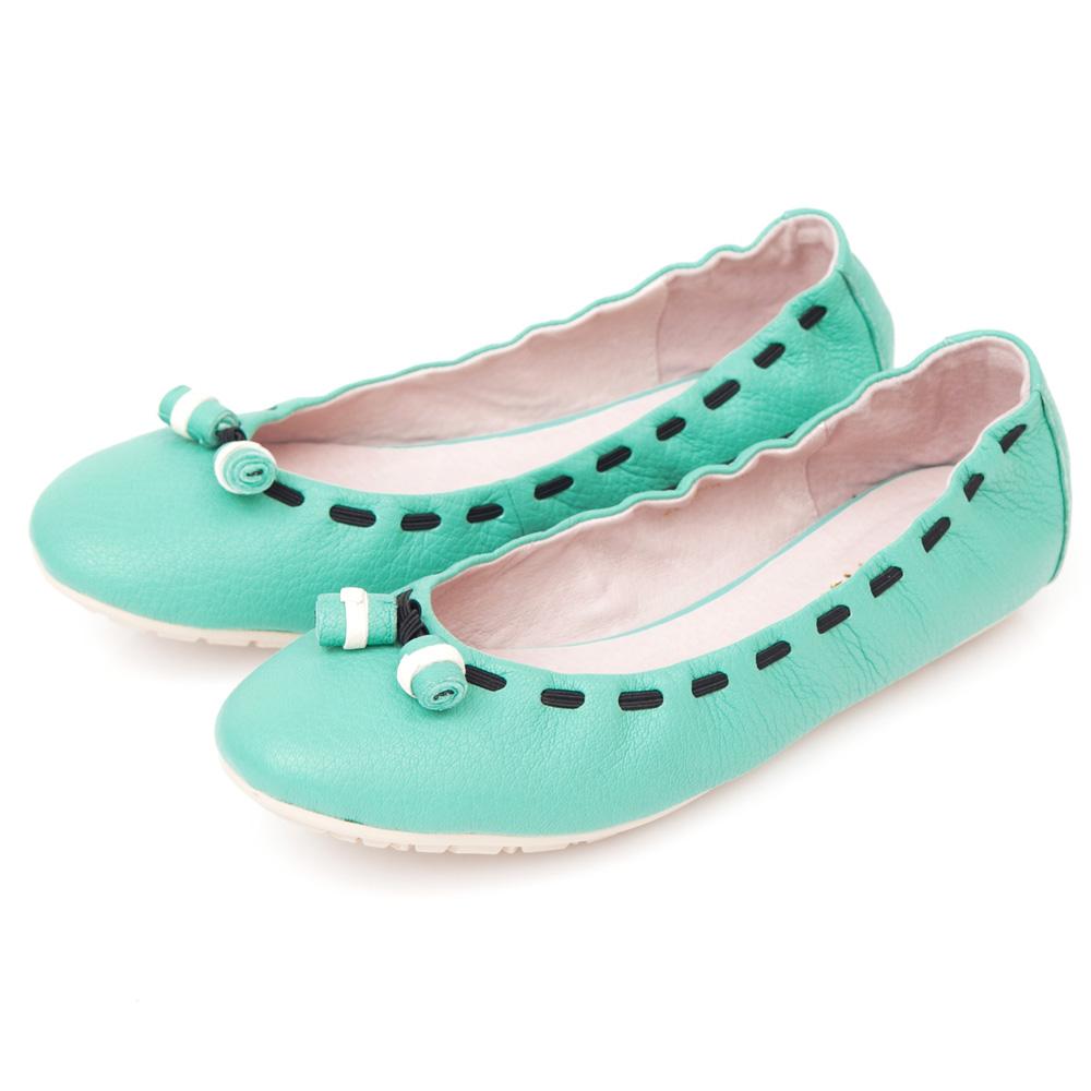 G.Ms.  輕甜造型-小羊皮撞色穿繩娃娃鞋-薄荷綠