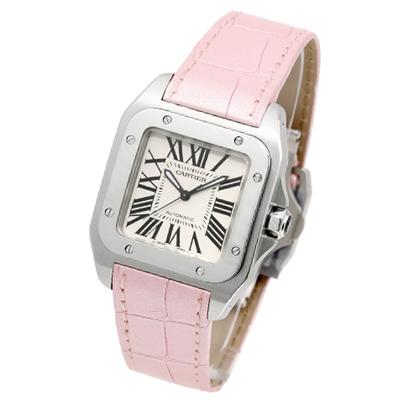 Cartier Santos 100 經典機械女錶-白x粉紅錶帶/33mm