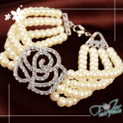 iSFairytale伊飾童話 水鑽薔薇 優雅四層珍珠手鍊