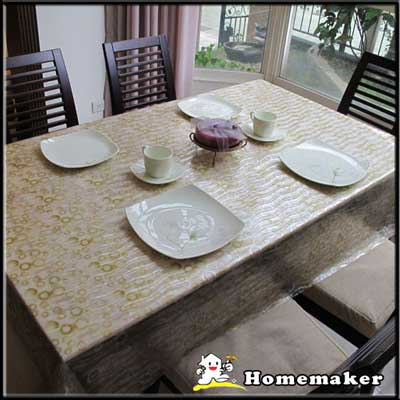 Homemaker-無限黃圈圈桌巾 (長150cmX寬137cm)