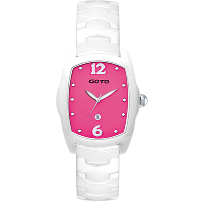 GOTO Sweet color 甜美陶瓷時尚腕錶-白x桃/34mm