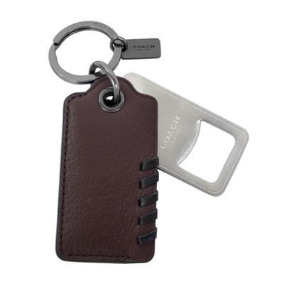COACH可可紅皮革編織吊牌內附開瓶器鑰匙圈