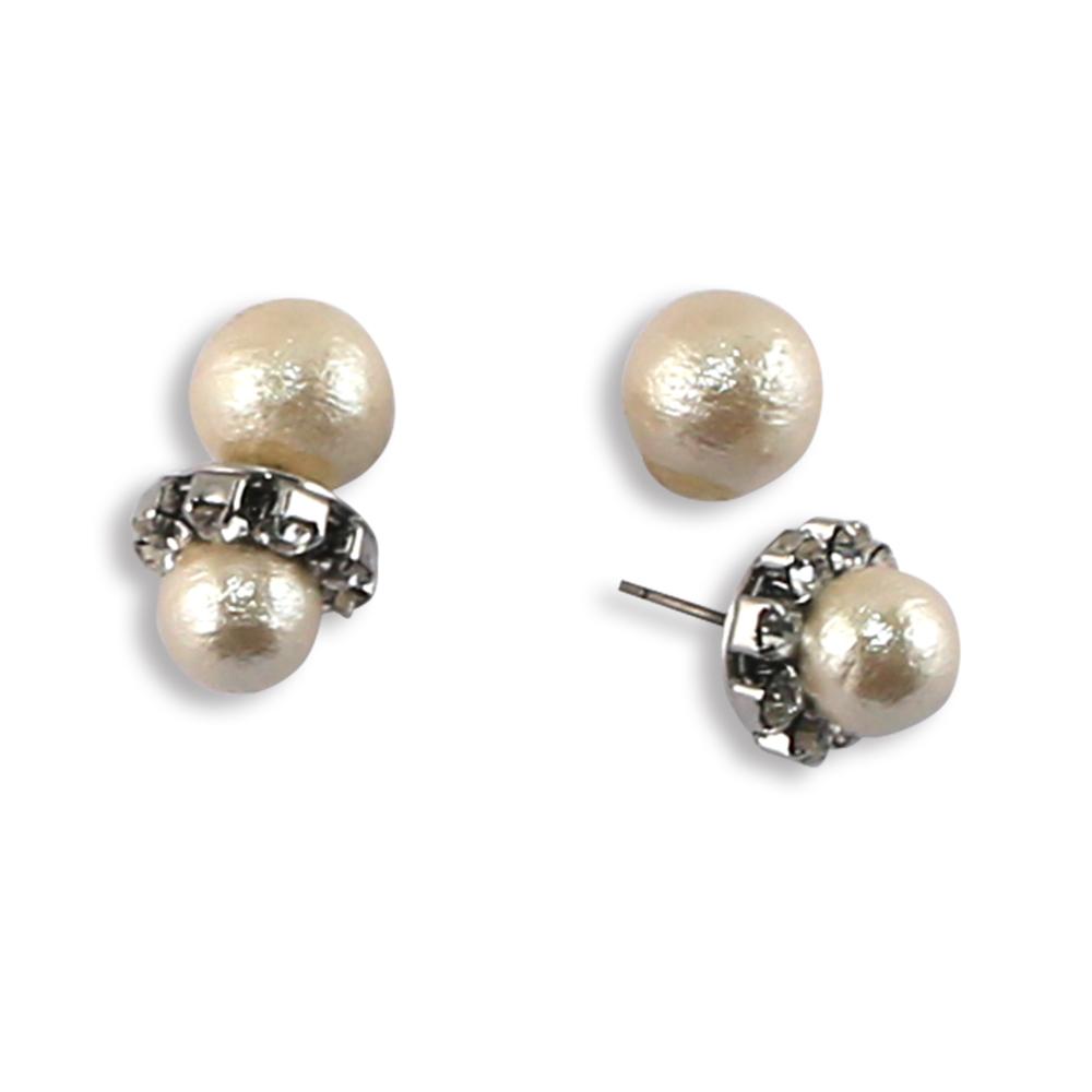 CARUTINA 氣質水晶棉珍珠耳環-銀色